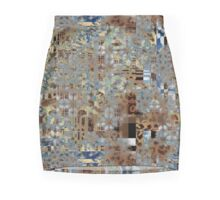 Geometric Animal Print Burn Out Mosaic Blend Pattern Mini Skirt