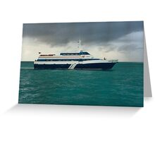 Ferry and A Dark Cloud, Cancun, Mexico  Greeting Card