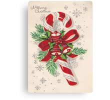 A Vintage Merry Christmas Candy Cane Canvas Print