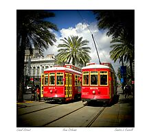 Red Trolly Cars On Canal Street Photographic Print