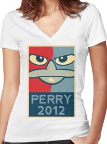 Perry the Platypus for President 2012 Women's Fitted V-Neck T-Shirt