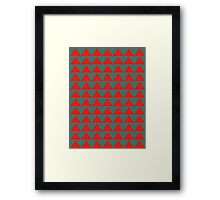 Chevron Teal and Red Framed Print