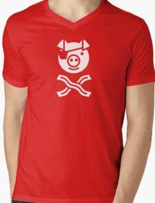 Pirate Pig Mens V-Neck T-Shirt