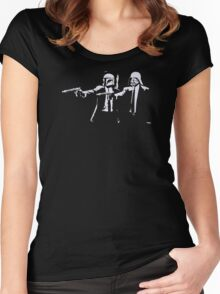 Cartoon Pulp Movie Fiction Parody Women's Fitted Scoop T-Shirt