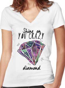 crazy diamond Women's Fitted V-Neck T-Shirt