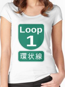 Osaka loop road sign Women's Fitted Scoop T-Shirt