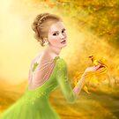 Beautiful romantic woman and fantasy gold bird by Alena Lazareva