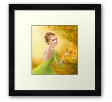 Beautiful romantic woman and fantasy gold bird Framed Print