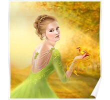 Beautiful romantic woman and fantasy gold bird Poster