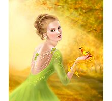 Beautiful romantic woman and fantasy gold bird Photographic Print