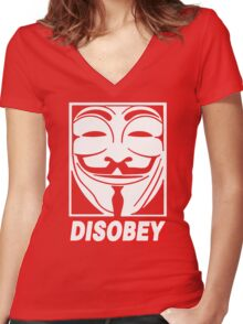 Disobey Anonymous Women's Fitted V-Neck T-Shirt