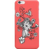 Modern black white coral hand drawn floral  iPhone Case/Skin