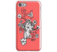 Modern black white coral hand drawn floral  iPhone Case/Skin