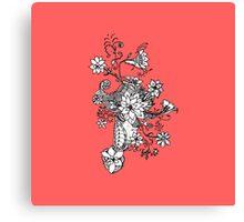 Modern black white coral hand drawn floral  Canvas Print