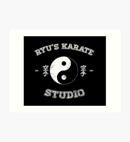 Ryu's Karate Studio - Black Version Art Print