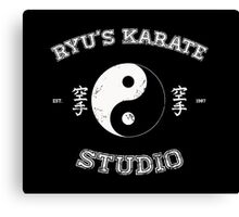Ryu's Karate Studio - Black Version Canvas Print