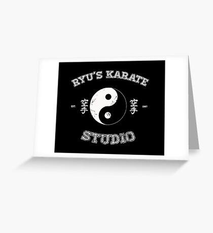 Ryu's Karate Studio - Black Version Greeting Card