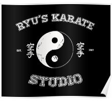 Ryu's Karate Studio - Black Version Poster