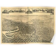 Panoramic Maps View of city of Stockton the Manufacturing City of California Poster