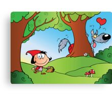 The Big Bad Wolf Spying On Red Riding Hood In The Woods Canvas Print