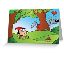 The Big Bad Wolf Spying On Red Riding Hood In The Woods Greeting Card