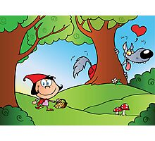 The Big Bad Wolf Spying On Red Riding Hood In The Woods Photographic Print