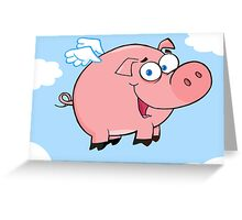 Winged Pig Smiling And Flying In The Sky Greeting Card