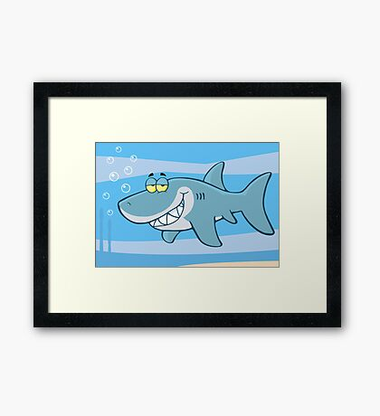 Happy Blue Shark Framed Print