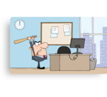 Angry Businessman With Baseball Bat In Office Canvas Print