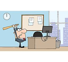 Angry Businessman With Baseball Bat In Office Photographic Print