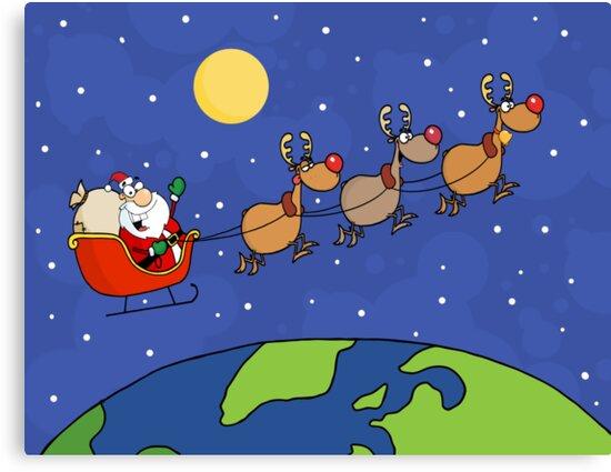 Santa Waving And Flying Over Earth by ChudTsankov