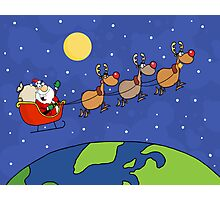 Santa Waving And Flying Over Earth Photographic Print