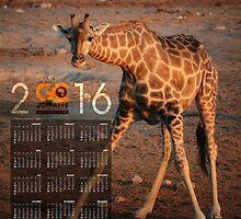 Giraffe After Drinking Poster Calendar by save-giraffe