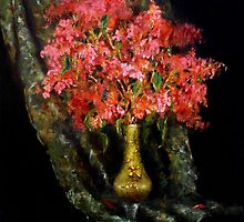 Crepe Myrtle in a Green Vase by Monica Vanzant