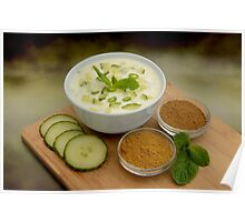 Fresh Cucumber Raita and Ingredients Poster