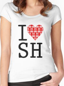 I LOVE SH (Red) Women's Fitted Scoop T-Shirt