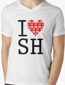 I LOVE SH (Red) Mens V-Neck T-Shirt