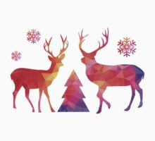 Christmas deer with abstract geometric polygon pattern One Piece - Long Sleeve