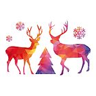Christmas deer with abstract geometric polygon pattern by beakraus
