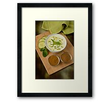 Indian Raita Yoghurt Dip and Ingredients Framed Print