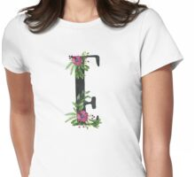 Monogram E with Floral Wreath Womens Fitted T-Shirt