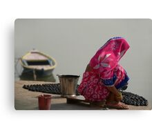 Woman in Pink Sari by Ganges Canvas Print