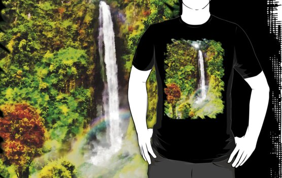 Waterfall - Digital Art Painting by Vidka Art