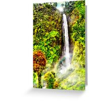 Waterfall - Digital Art Painting Greeting Card