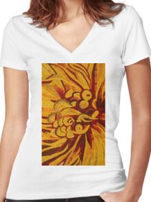 Imagination in Hot, Vivid Yellows Women's Fitted V-Neck T-Shirt