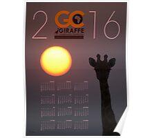 Giraffe at Sunset Poster Calendar Poster