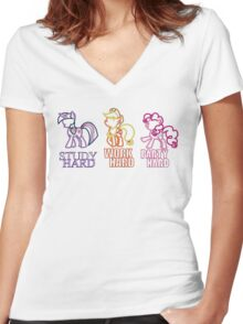 Twilight Sparkle Pinkie Pie Applejack Women's Fitted V-Neck T-Shirt