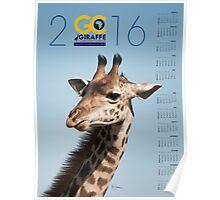 Giraffe against blue sky Poster Calendar Poster