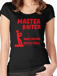 MASTER BAITER FUNNY RUDE TUMBLR FISHING Women's Fitted Scoop T-Shirt