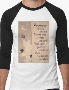The Ghost & The Pumpkin (Vintage Halloween Card) Men's Baseball ¾ T-Shirt